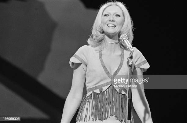 Northern Irish singer and actress Clodagh Rodgers performs on 'Top Of The Pops' London UK 24th April 1972