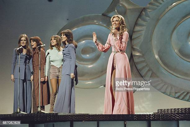 Northern Irish singer Clodagh Rodgers performs the song 'Jack In The Box' on stage for United Kingdom in the 1971 Eurovision Song Contest at the...