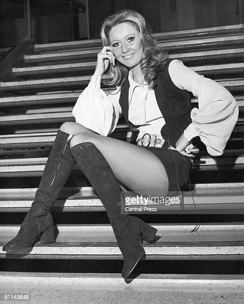 Northern Irish singer Clodagh Rogers at Heathrow Airport 31st March 1971 before a flight to Dublin where she is to represent the United Kingdom in...