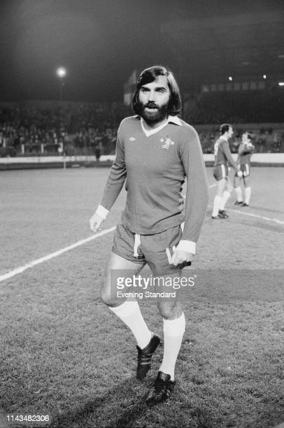 Northern Irish soccer player George Best in a Chelsea uniform during a testimonial match for striker Peter Osgood, London, UK, 25th November 1975.
