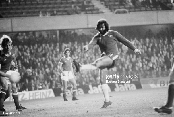 Northern Irish soccer player George Best in a Chelsea uniform during a testimonial match for striker Peter Osgood London UK 25th November 1975