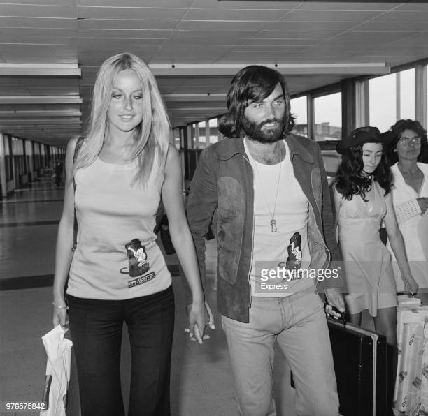 Northern Irish soccer player George Best with his girlfriend, Swedish actress and model Mary Stavin, at Heathrow Airport, London, UK, 31st August...