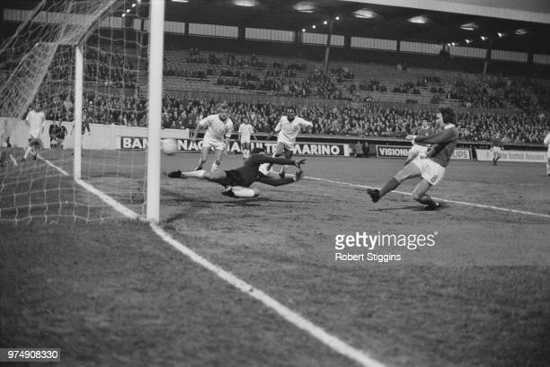 Northern Irish soccer player Martin O'Neill scores at the 18th minute during international match Northern Ireland vs Portugal FIFA World Cup Group 6...