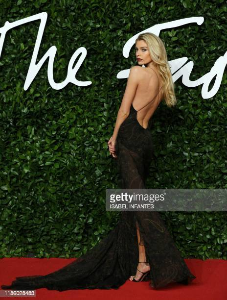 Northern IrishNew Zealand model model Stella Maxwell poses on the red carpet upon arrival at The Fashion Awards 2019 in London on December 2 2019 The...