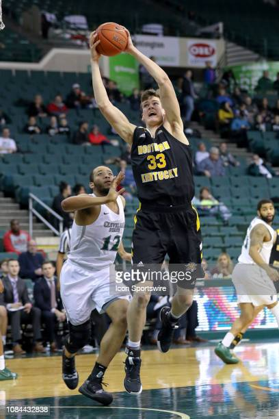 Northern Kentucky Norse center Chris Vogt grabs a rebound during the second half of the college basketball game between the Northern Kentucky Norse...