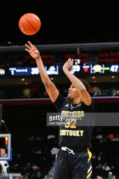 Northern Kentucky Norse forward Dantez Walton shoots a jump shot during the Horizon League Conference tournament championship game between the Wright...