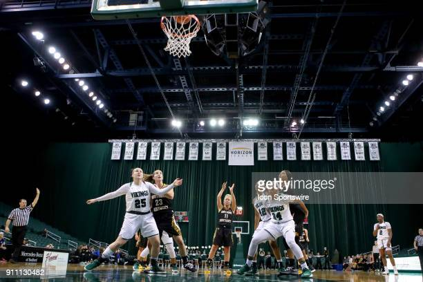 Northern Kentucky Norse guard Taryn Taugher makes a free throw during the second quarter of the women's college basketball game between the Northern...
