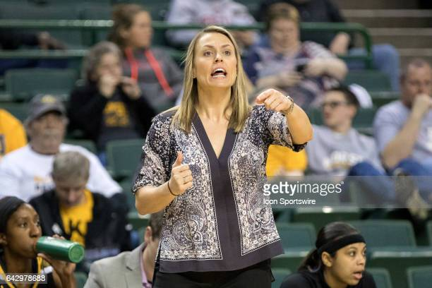 Northern Kentucky Norse head coach Camryn Whitaker shouts instructions during the first quarter of the women's college basketball game between the...