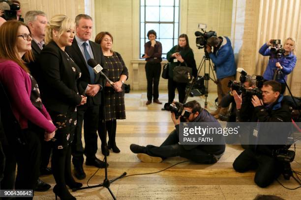 Northern Leader of Sinn Fein Michelle O'Neill flanked by members of her party speaks to members of the media at The Parliament Buildings commonly...