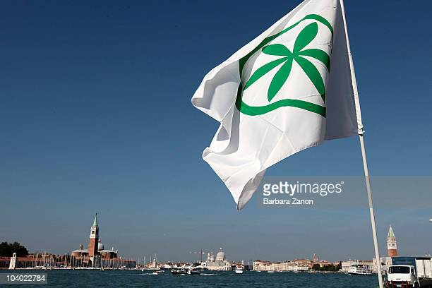 Northern League flag flaps in the wind during the Lega Nord Annual Party Rally on September 12, 2010 in Venice, Italy. The annual event is held to...