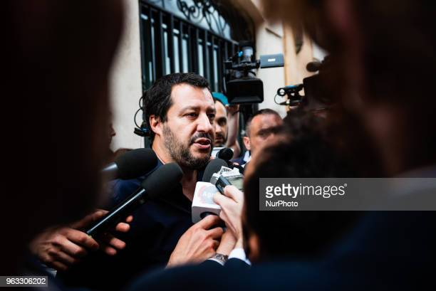 Northern League leader Matteo Salvini speaks with the press on May 28 2018 after leaving the Chamber of Deputies in Rome Italy Italian President...