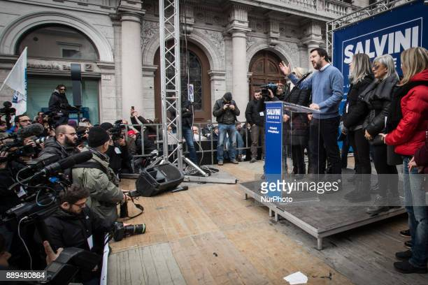 Northern League party leader Matteo Salvini attends a demonstration opposing easier Italian citizenship for foreigners in Rome Italy Sunday Dec 10...