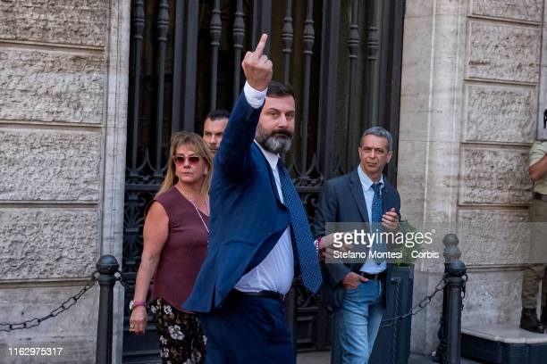 Northern League party senator William De Vecchis addresses an insult to the supporters of the e 5 Star Movement in front of the Senate that...