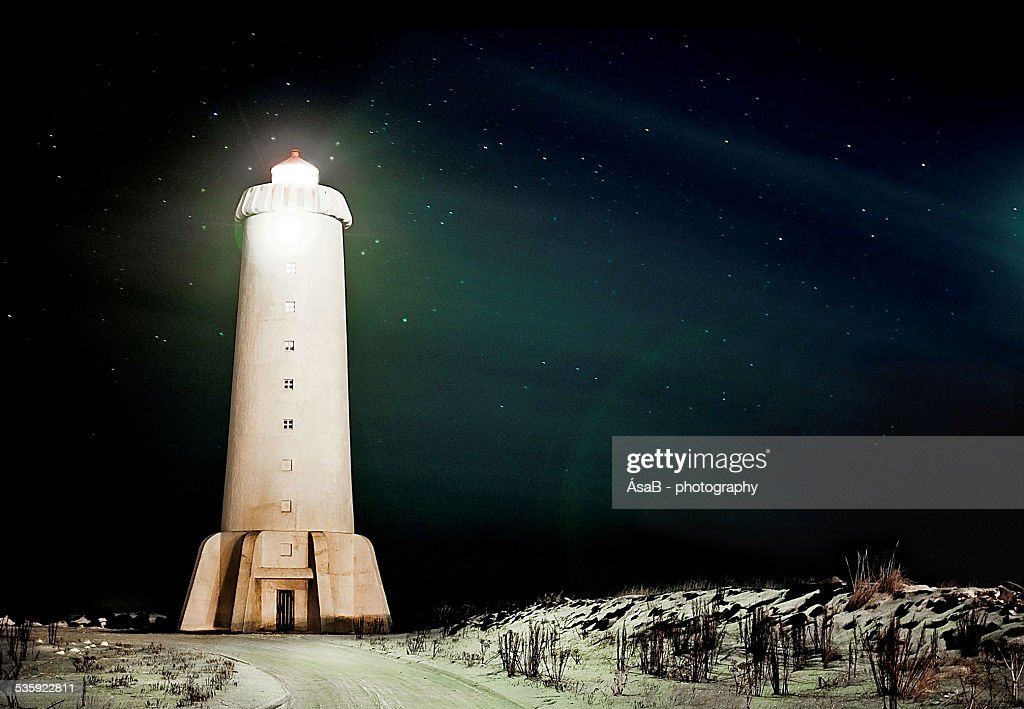 Northern light house : Stock Photo