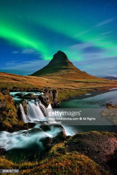 Northern Lights above Iceland Kirkjufell mountain