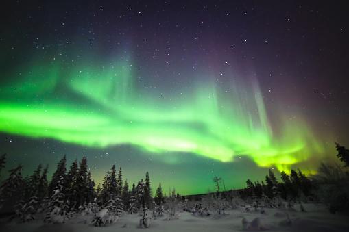 Northern lights, also known as Aurora borealis in Lapland, Finland - gettyimageskorea