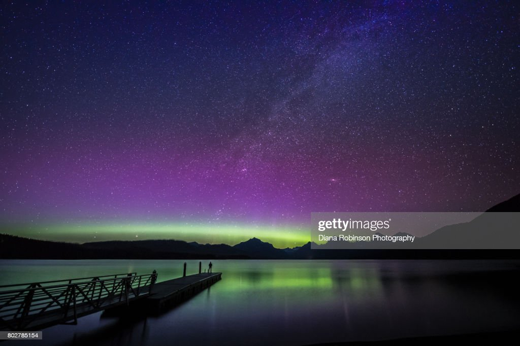 Northern Lights and Milky Way over Lake McDonald, Glacier National Park, Montana : Stock Photo