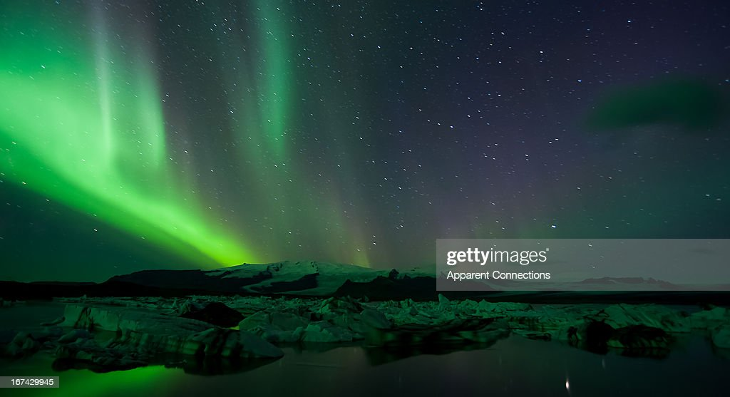 Northern Lights at Jokulsarlon : Foto de stock