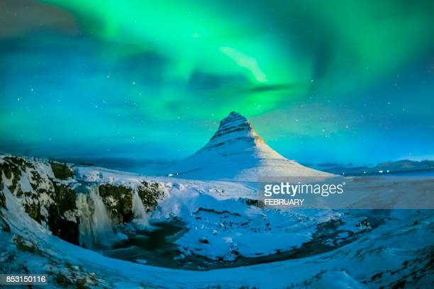 Northern lights at Mount Kirkjufell, Iceland