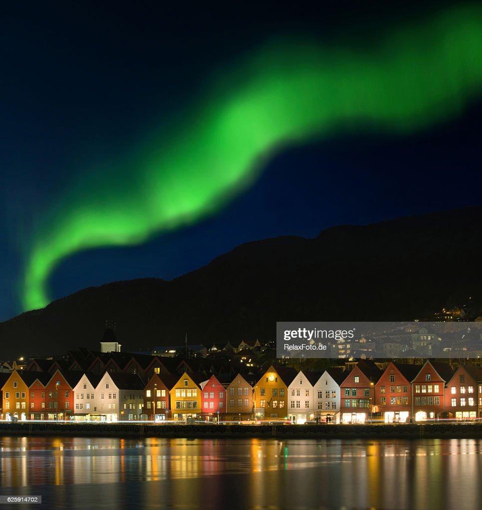 Northern Lights Aurora Borealis Over Bryggen In Bergen ...