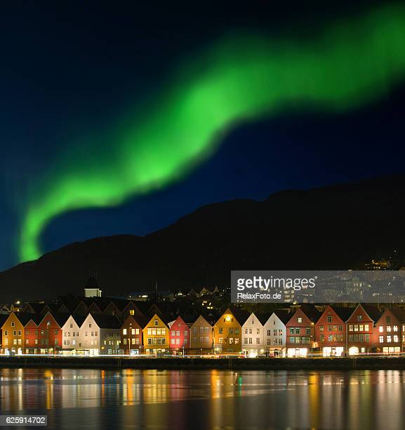 northern lights - aurora borealis over bryggen in bergen, norway - ノルウェー ストックフォトと画像