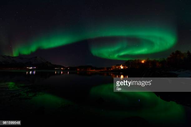 Northern Lights, Aurora Borealis over Northern Norway during winter