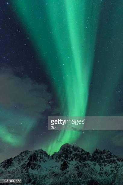 Northern Lights, Aurora Borealis over the Lofoten Islands in Northern Norway during winter
