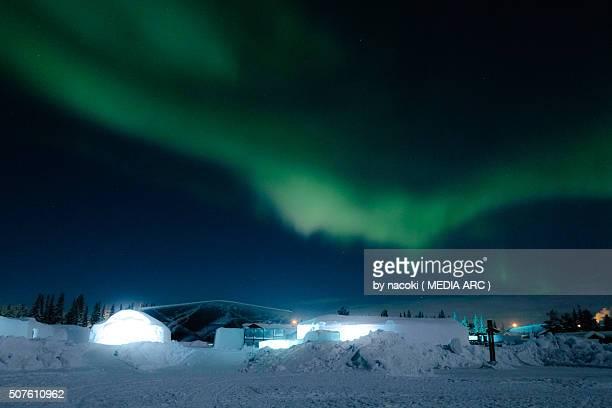 Northern Lights, Aurora in Sweden Kiruna Icehotel
