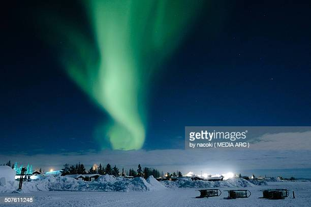 northern lights, aurora in sweden kiruna icehotel - swedish lapland stock photos and pictures
