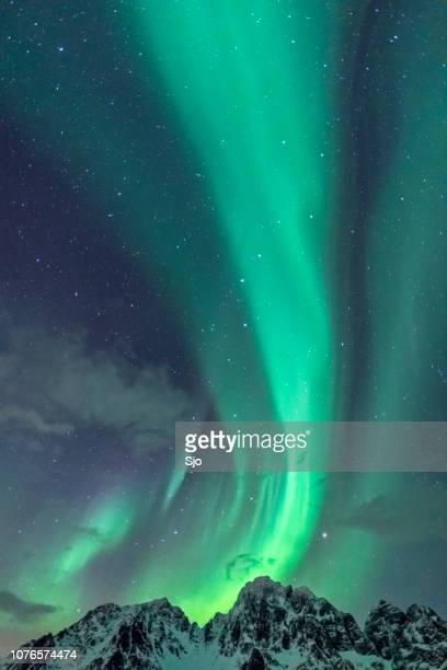 Northern Lights background image with mountain peaks and Aurora