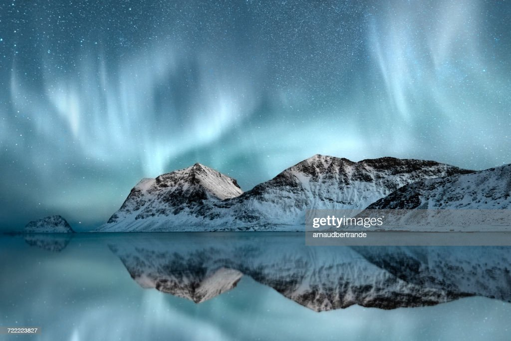 Northern Lights, Haukland, Nordland, Norway : ストックフォト