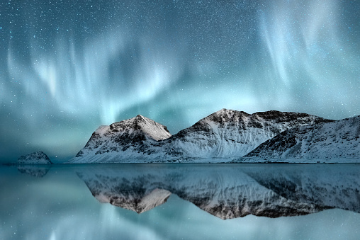 Northern Lights, Haukland, Nordland, Norway - gettyimageskorea
