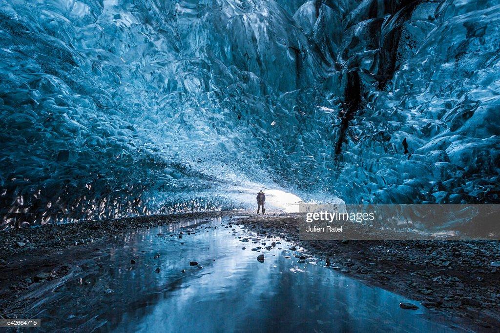 Northern lights ice cave : Stock Photo