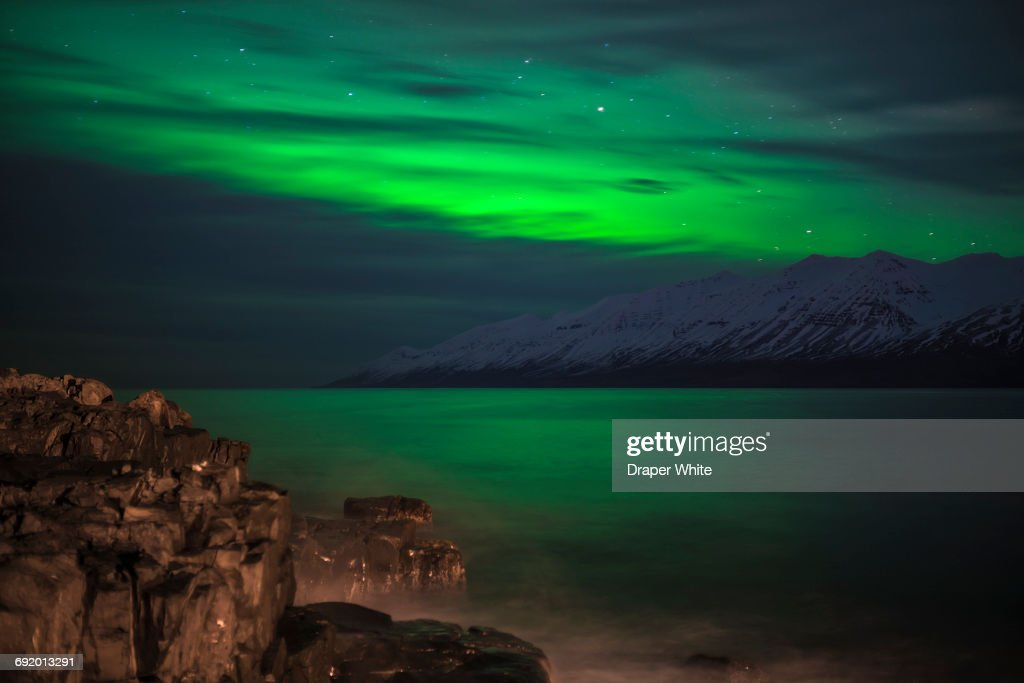 Northern lights in Hauganes, Northern Iceland. : Stock Photo