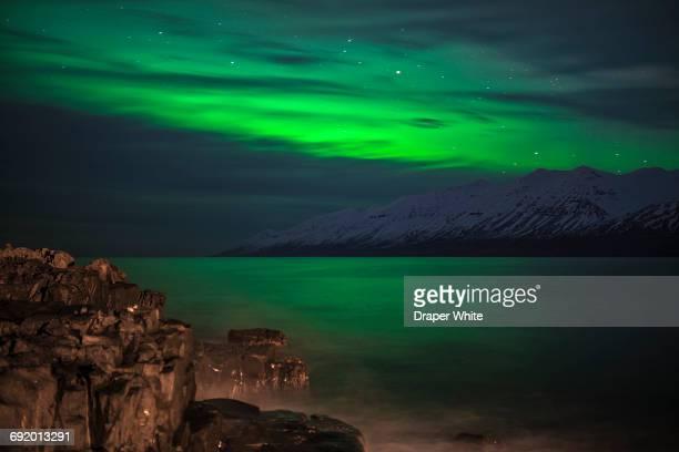 Northern lights in Hauganes, Northern Iceland.