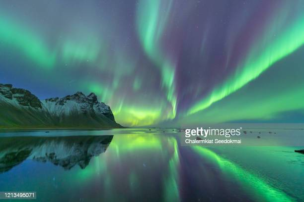 northern lights in iceland - north stock pictures, royalty-free photos & images