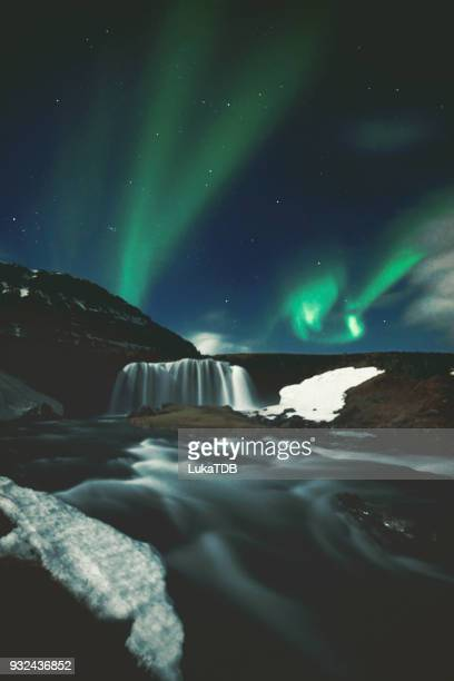 northern lights in mount kirkjufell iceland - elysium stock pictures, royalty-free photos & images