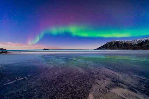 Northern Lights, Lofoten, Flakstad, Nordland, Norway - gettyimageskorea