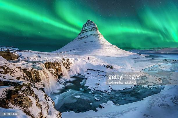 Northern lights, Mount Kirkjufell, Jokulsarlon lagoon, Iceland