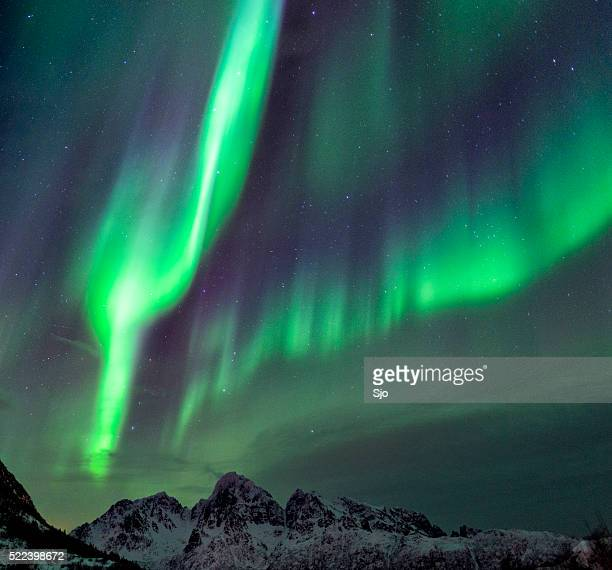 Northern Lights mountains at the Lofoten Islands in Norway