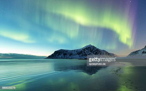 northern lights on skagsanden norway - aurora stock pictures, royalty-free photos & images