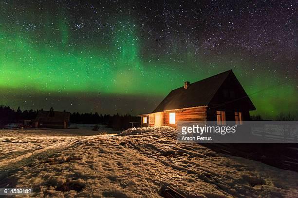 Northern Lights over hut