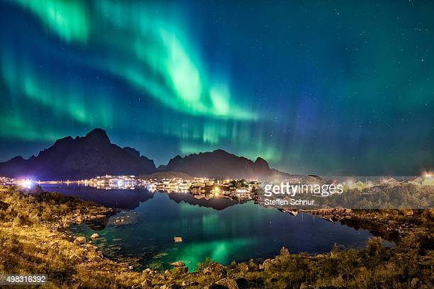 Northern Lights over Lofoten beautiful landscape