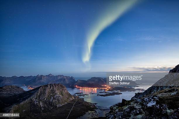 northern lights over lofoten beautiful landscape - hauptstraße stock pictures, royalty-free photos & images