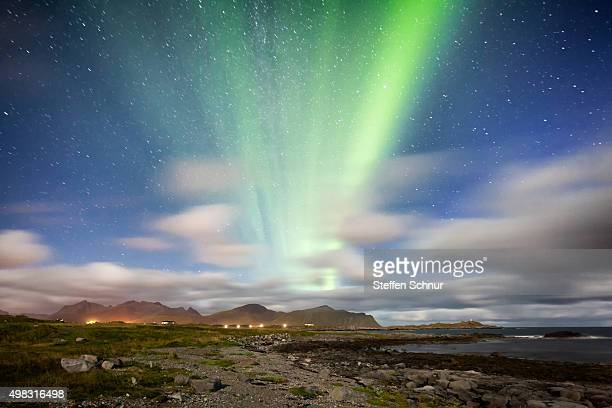 northern lights over lofoten beautiful landscape - nacht stock pictures, royalty-free photos & images
