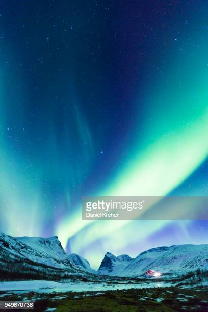 northern lights (aurora borealis) over mountains, kebnekaise fjaellstation, kungsleden or kings trail, province of lapland, sweden, scandinavia - norrbotten province stock photos and pictures