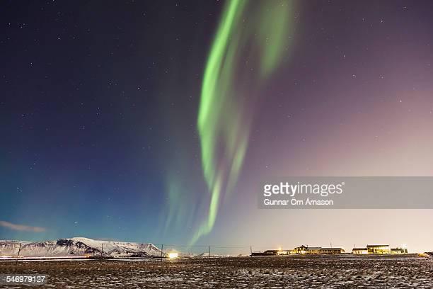 northern lights over reykjavik iceland - gunnar örn árnason stock pictures, royalty-free photos & images