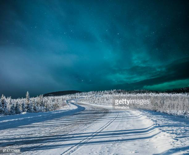 Northern lights over snow-covered road