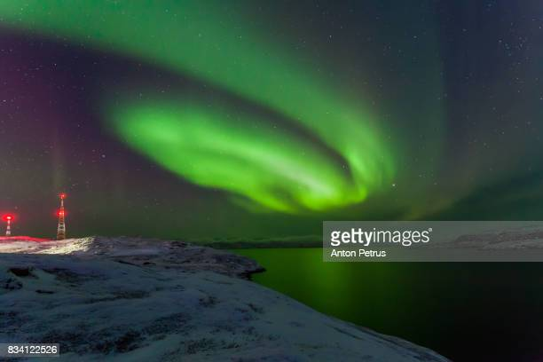 Northern Lights over the Bay of the Barents Sea