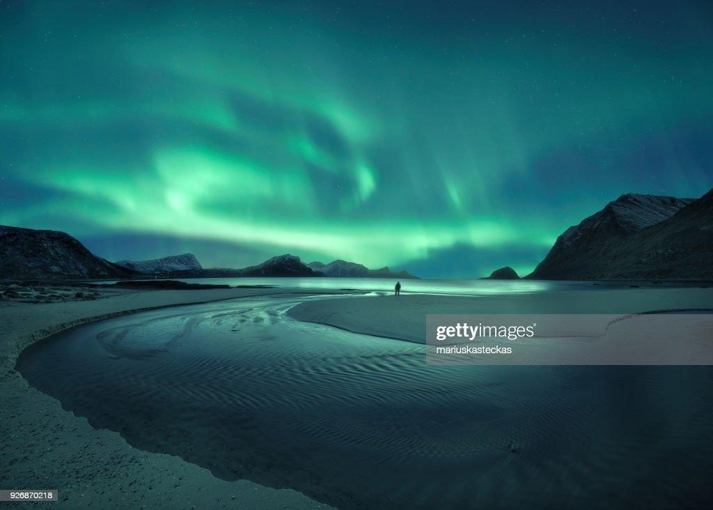 Northern lights over the beach, Lofoten, Norway : Stock Photo